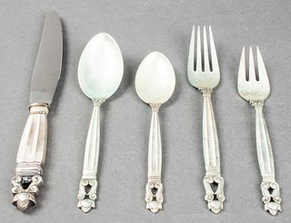Georg Jensen Acorn Silver Flatware Service for 12