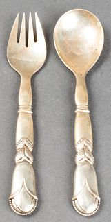 "Georg Jensen ""Ornamental #57"" Silver Salad Servers"