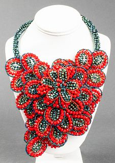 Vilaiwan Red Flower Waterfall Beaded Necklace