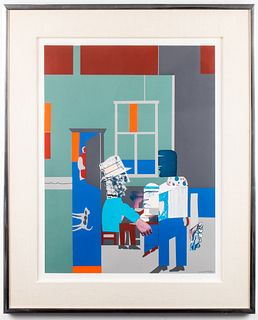 "Romare Bearden ""Carolina Blue"" Screenprint Collage"
