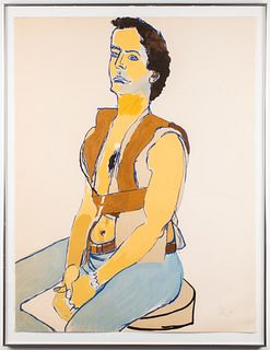 "Alice Neel ""Man in Harness"" Lithograph, 1980"