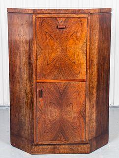 Italian Art Deco Walnut Corner Cabinet