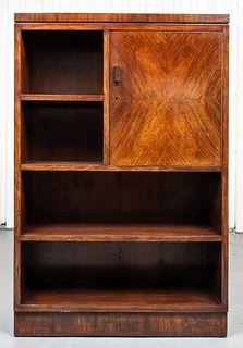 Italian Art Deco Walnut Cabinet Bookcase