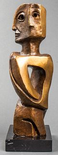 Illegibly Signed Abstract Figural Bronze Sculpture