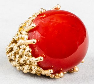 Vintage 14K Yellow Gold & Carnelian Cocktail Ring