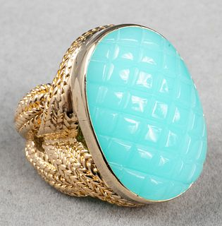 14K Yellow Gold & Blue Faux-Gemstone Cocktail Ring