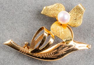 Vintage 18K Rose & Yellow Gold Flower Pearl Brooch