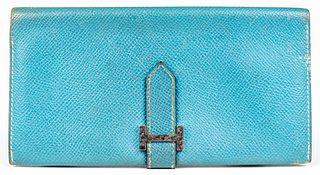 Hermes Blue Leather Bearn Wallet