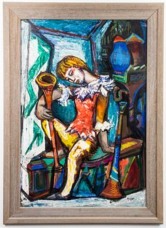 "Josef Presser ""Harlequin"" Large Mixed Media"