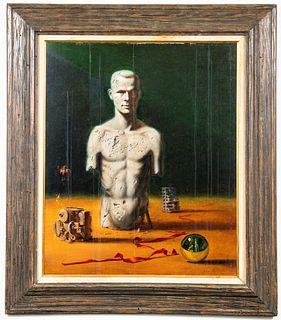 John Bannon Self-Portrait Surrealist Oil on Board