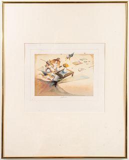 Georges Dussau Surrealist Watercolor, 1980