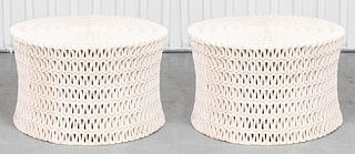 "Oly Studio ""Pipa"" Modern Pierced Round Side Tables"