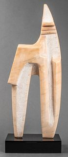 R. Bary Modern Carved Pink Marble Sculpture