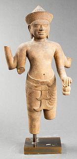 Khmer Vishnu Carved Sandstone Figure, Cambodia