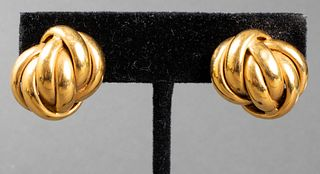 Vintage 18K Yellow Gold Knot Clip Earrings