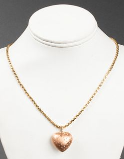 14K Yellow & Rose Gold Puff Heart Pendant Necklace