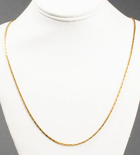 22K Yellow Gold Rectangular Link Chain Necklace