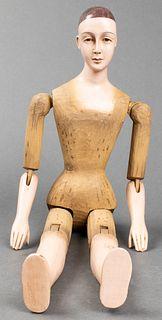 Folk Art Carved Wood Articulated Mannequin Figure