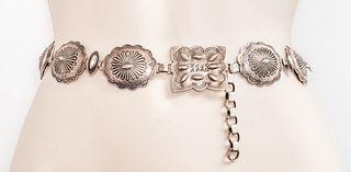 Vintage Native American Navajo Silver Concho Belt