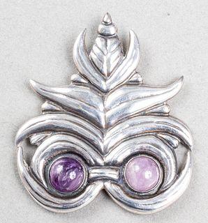 Hector Aguilar Taxco Silver Amethyst Owl Brooch