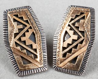 Peter Nelson Navajo 14K Gold & Silver Earrings