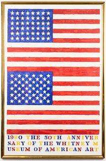 Jasper Johns 50th Anniversary (Double Flag) Poster