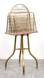 English Arts & Crafts Brass & Wood Magazine Rack