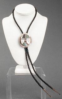 Zuni Silver Multi-Stone Bolo Tie Necklace