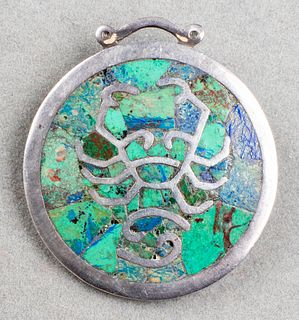 """Los Castillo Taxco Silver & Turquoise """"Cancer"""" Pin"""