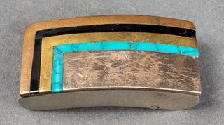 Taxco Silver/Base Metal Onyx Turquoise Belt Buckle