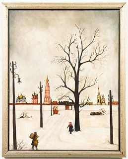 Folk Art Russian Winter Scene Oil on Canvas