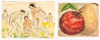 Abraham Walkowitz Watercolor Studies on Paper, 2