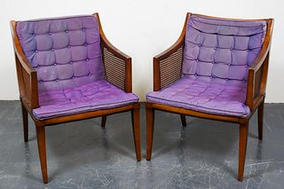 Mid-Century Modern Caned Armchairs, Pair