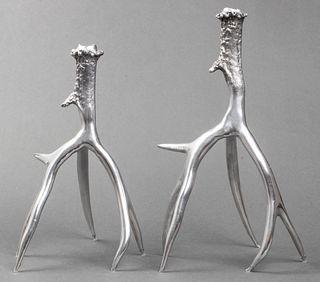 Cast Metal Stag Antler Candlesticks, Pair