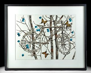 Signed George Dombek Watercolor - Bicycle, ca. 2004