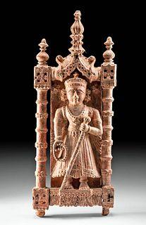 19th C. Indian Wood Devotional Panel - Vishnu