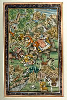 19th C. Indian Mughal Painting on Fabric - Tiger Hunt