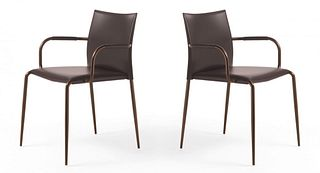 Pair of Italian Leather Chairs BY TOM KELLEY