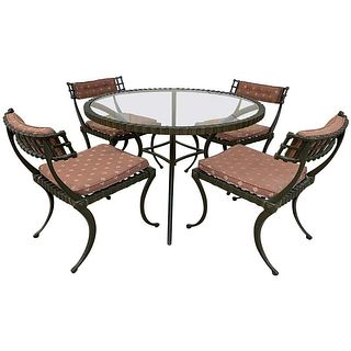 "Thinline ""Klismos"" Patio or dining table and chairs"