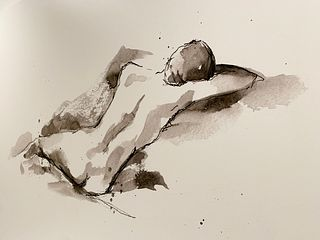 Large Gliclee of a Reclining Nude Female 60x45