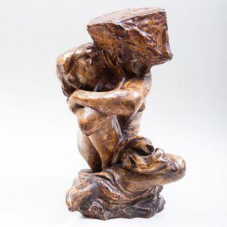 After Auguste Rodin (1840-1917): La Cariatide tombée portant son pierre