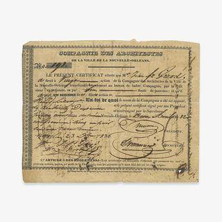 [Business & Industry] [New Orleans], Compagnie des Architectes de la ville de la Nouvelle-Orleans Stock Certificate