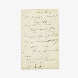 [Presidential] [First Ladies] Lincoln, Mary Todd, Autograph Letter, signed