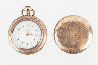 Elgin Pocket Watch with Enameled Face