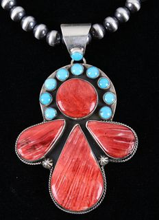Navajo Yazzie Kingman & Spiny Oyster Necklace