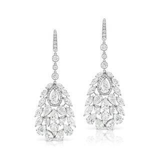 DIAMOND ACCENTED DANGLING CHANDELIER EARRINGS