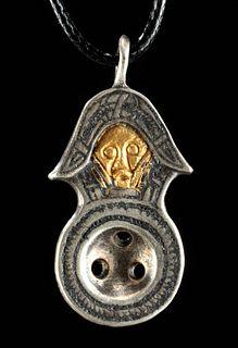 10th C. Viking Gilt Silver Pendant Snake-Like Details