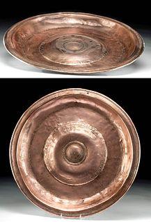 16th C. German Copper Alms Plate w/ Double Headed Eagle