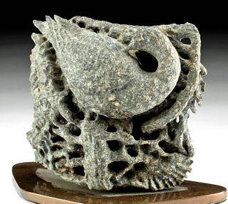 16th C. Swedish Stone Edifice w/ Bird, ex-Komer