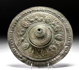 11th C. Seljuk Brass Shield Boss w/ Lions